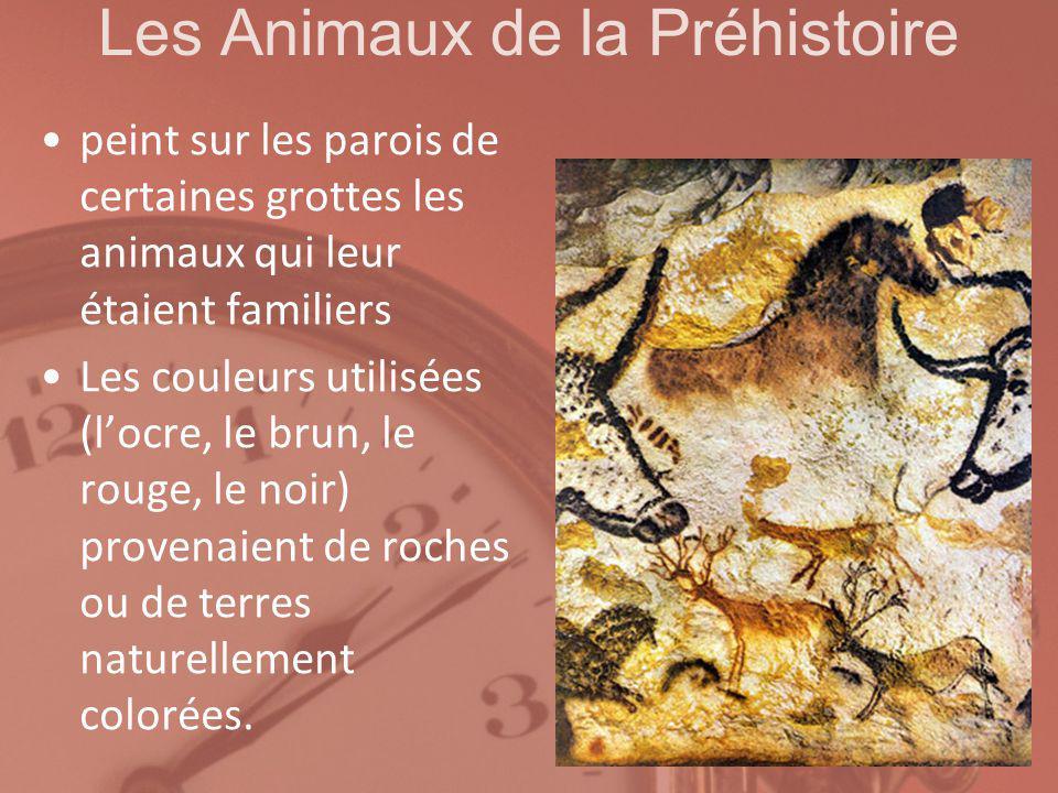 Les Animaux de la Préhistoire peint sur les parois de certaines grottes les animaux qui leur étaient familiers Les couleurs utilisées (locre, le brun,