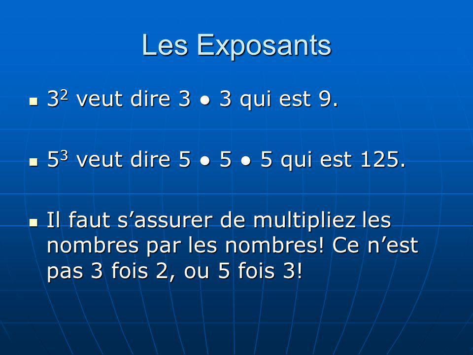 Les Exposants 3 2 veut dire 3 3 qui est 9. 3 2 veut dire 3 3 qui est 9. 5 3 veut dire 5 5 5 qui est 125. 5 3 veut dire 5 5 5 qui est 125. Il faut sass