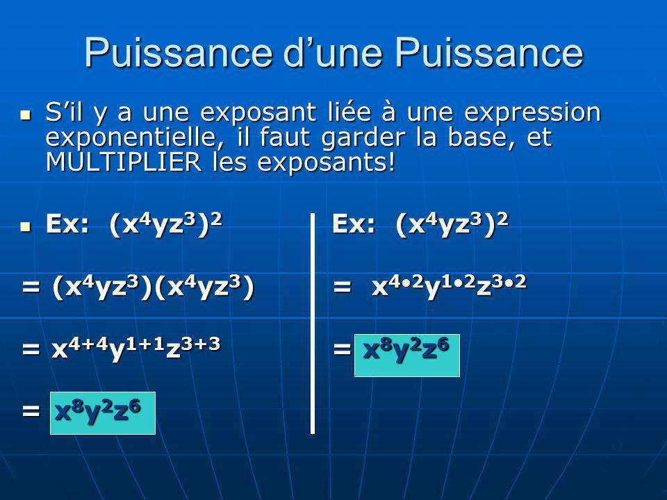 Puissance dune Puissance Sil y a une exposant liée à une expression exponentielle, il faut garder la base, et MULTIPLIER les exposants! Sil y a une ex