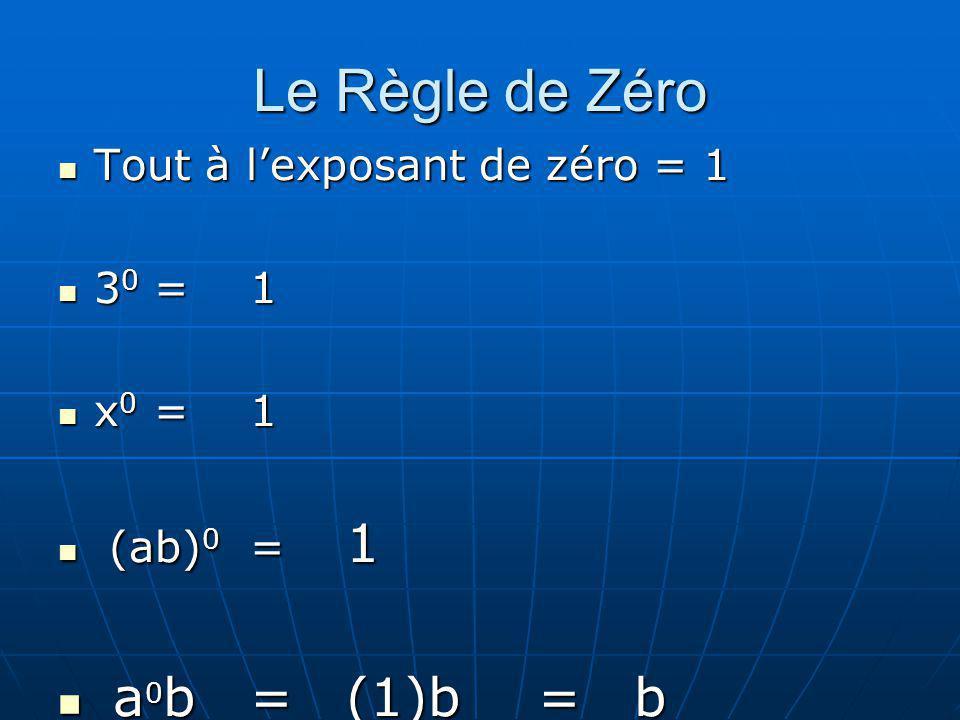 Le Règle de Zéro Tout à lexposant de zéro = 1 Tout à lexposant de zéro = 1 3 0 =1 3 0 =1 x 0 =1 x 0 =1 (ab) 0 = 1 (ab) 0 = 1 a 0 b=(1)b =b a 0 b=(1)b