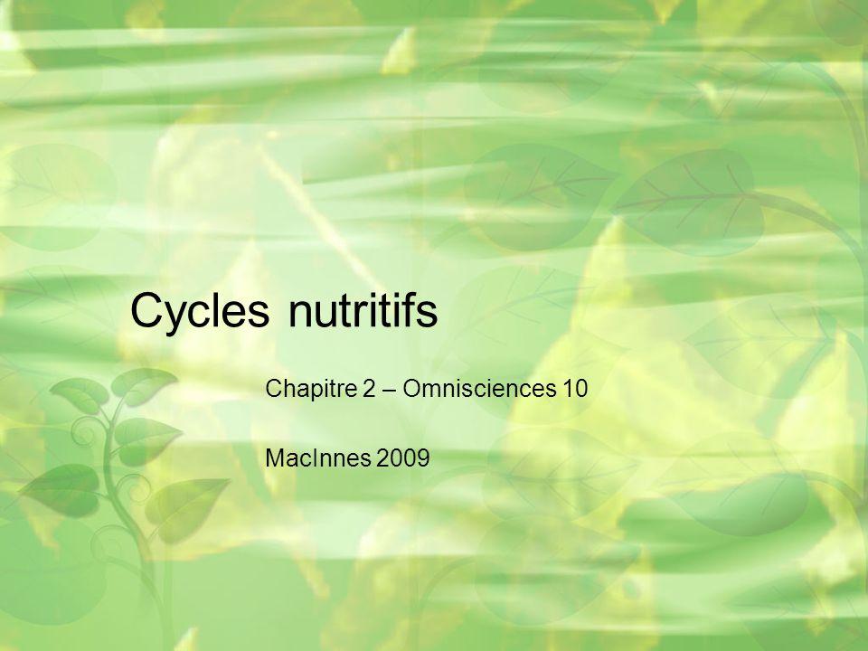 Cycles nutritifs Chapitre 2 – Omnisciences 10 MacInnes 2009