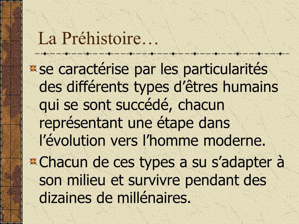 Les types humains: Il y a cinq grandes étapes de lévolution humaine et chacune correspond à un type humain: Australopithèque i.