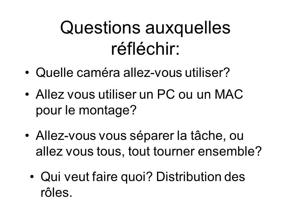 Questions auxquelles réfléchir: Quelle caméra allez-vous utiliser? Allez vous utiliser un PC ou un MAC pour le montage? Allez-vous vous séparer la tâc