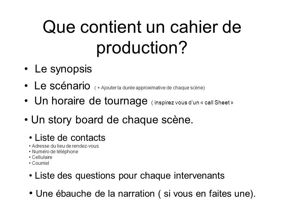 Que contient un cahier de production? Le synopsis Le scénario ( + Ajouter la durée approximative de chaque scène) Un horaire de tournage ( inspirez vo