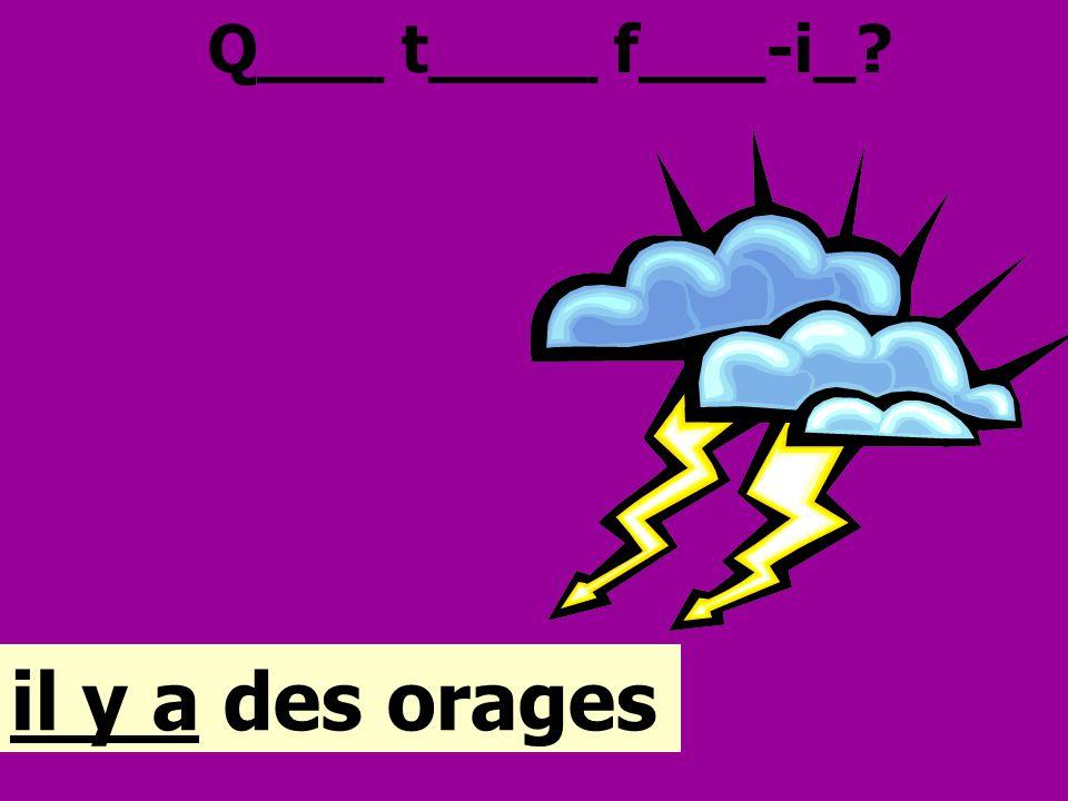 Q___ t____ f___-i_? il y a des orages
