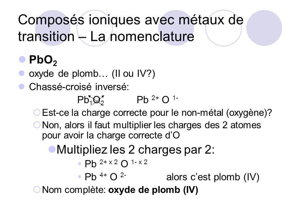 Composés ioniques avec métaux de transition – La nomenclature PbO 2 oxyde de plomb… (II ou IV?) Chassé-croisé inversé: Pb 1 O 2 Pb 2+ O 1- Est-ce la charge correcte pour le non-métal (oxygène).