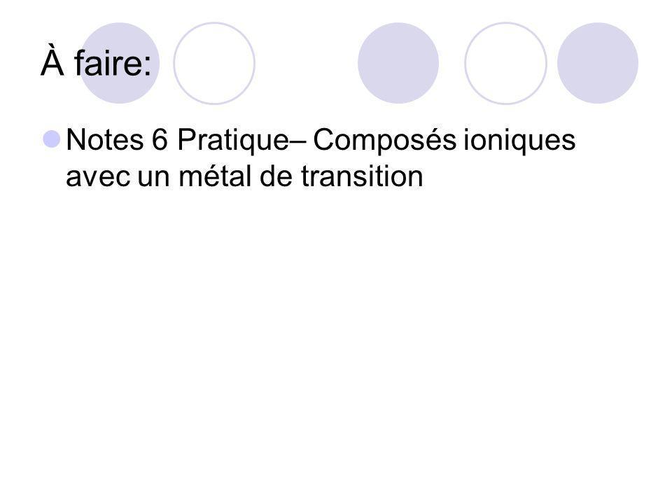 À faire: Notes 6 Pratique– Composés ioniques avec un métal de transition