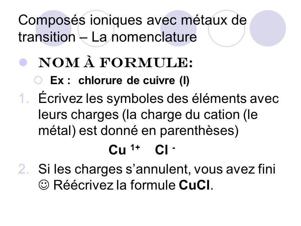Composés ioniques avec métaux de transition – La nomenclature Nom à formule: Ex :chlorure de cuivre (I) 1.Écrivez les symboles des éléments avec leurs charges (la charge du cation (le métal) est donné en parenthèses) Cu 1+ Cl - 2.Si les charges sannulent, vous avez fini Réécrivez la formule CuCl.