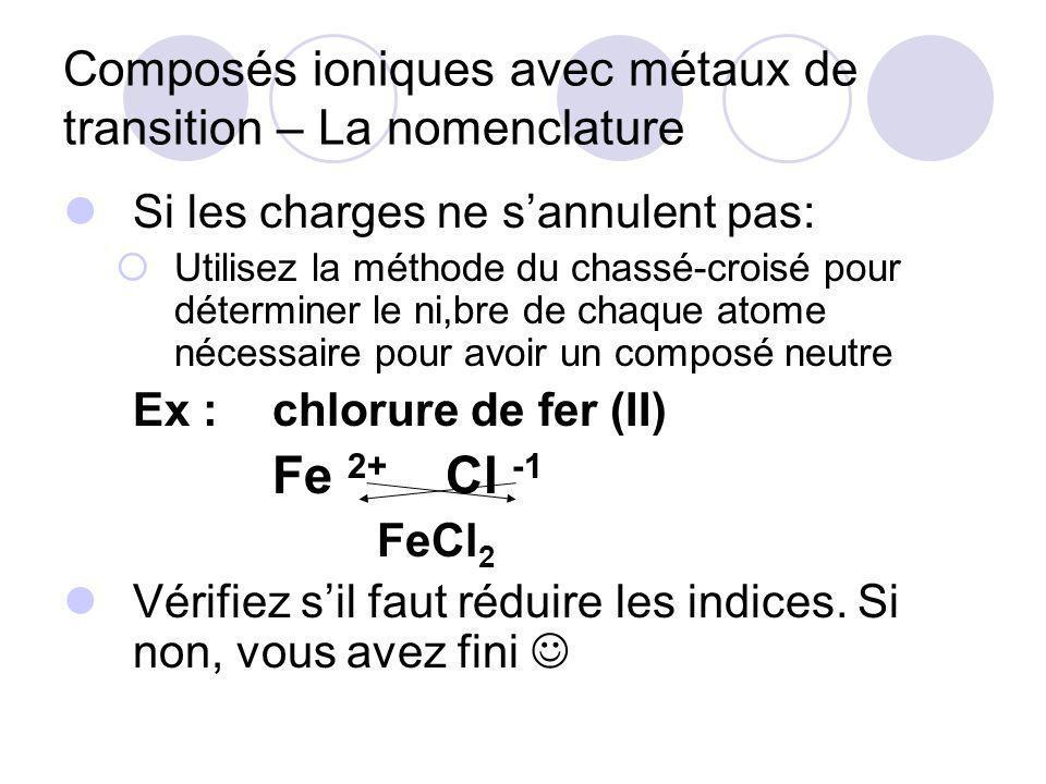 Composés ioniques avec métaux de transition – La nomenclature Si les charges ne sannulent pas: Utilisez la méthode du chassé-croisé pour déterminer le