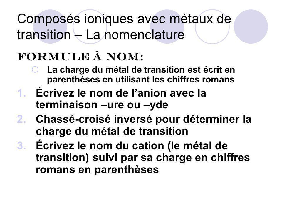 Composés ioniques avec métaux de transition – La nomenclature Ex: Fe 2 O 3 oxyde de fer… Chassé-croisé inversé pour trouver la charge de fer ( 2+ ou 3+ ) Cette fois les indices montent et deviennent les charges Fe 2 O 3 Alors nous avons Fe 3+ = fer (III) et O 2- Vérifiez que la charge trouvée pour lanion (le non- métal) est sa vraie charge selon le tableau périodique.