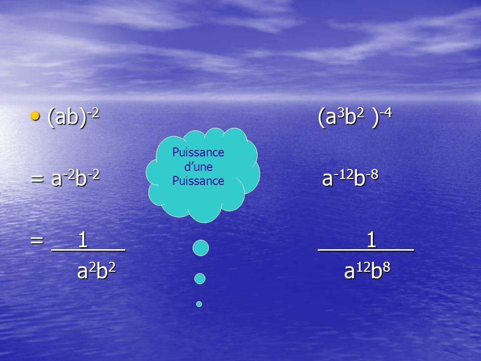 (ab) -2 (a 3 b 2 ) -4 (ab) -2 (a 3 b 2 ) -4 = a -2 b -2 a -12 b -8 = 11 a 2 b 2 a 12 b 8 Puissance dune Puissance