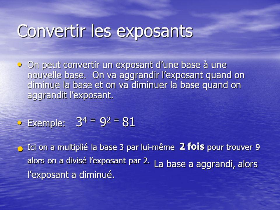 Convertir les exposants On peut convertir un exposant dune base à une nouvelle base.