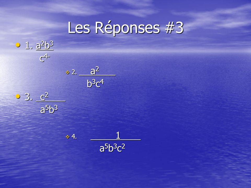 Les Réponses #3 1. a 2 b 3 1. a 2 b 3 c 4- c 4- 2.