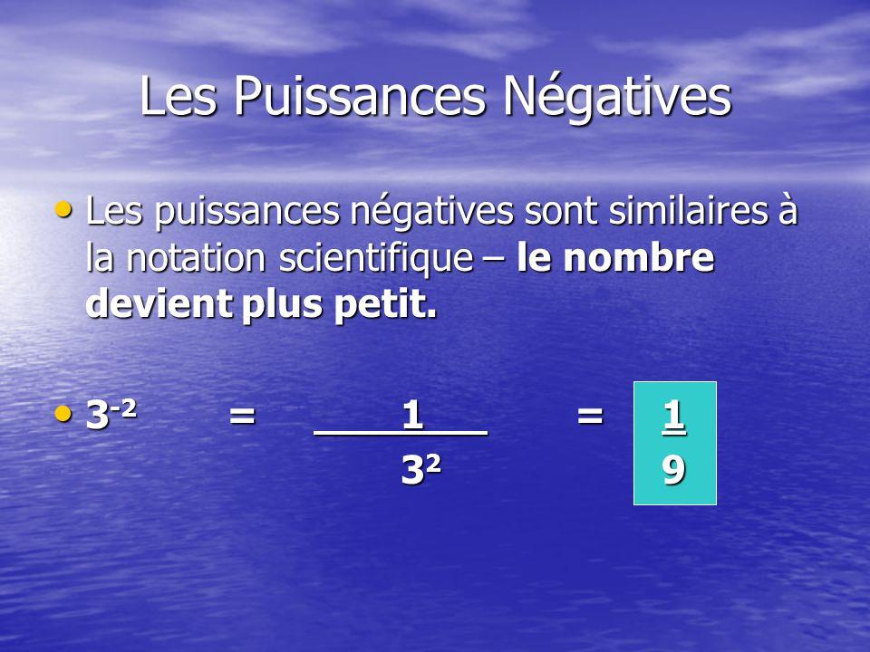 Les Puissances Négatives Les puissances négatives sont similaires à la notation scientifique – le nombre devient plus petit.