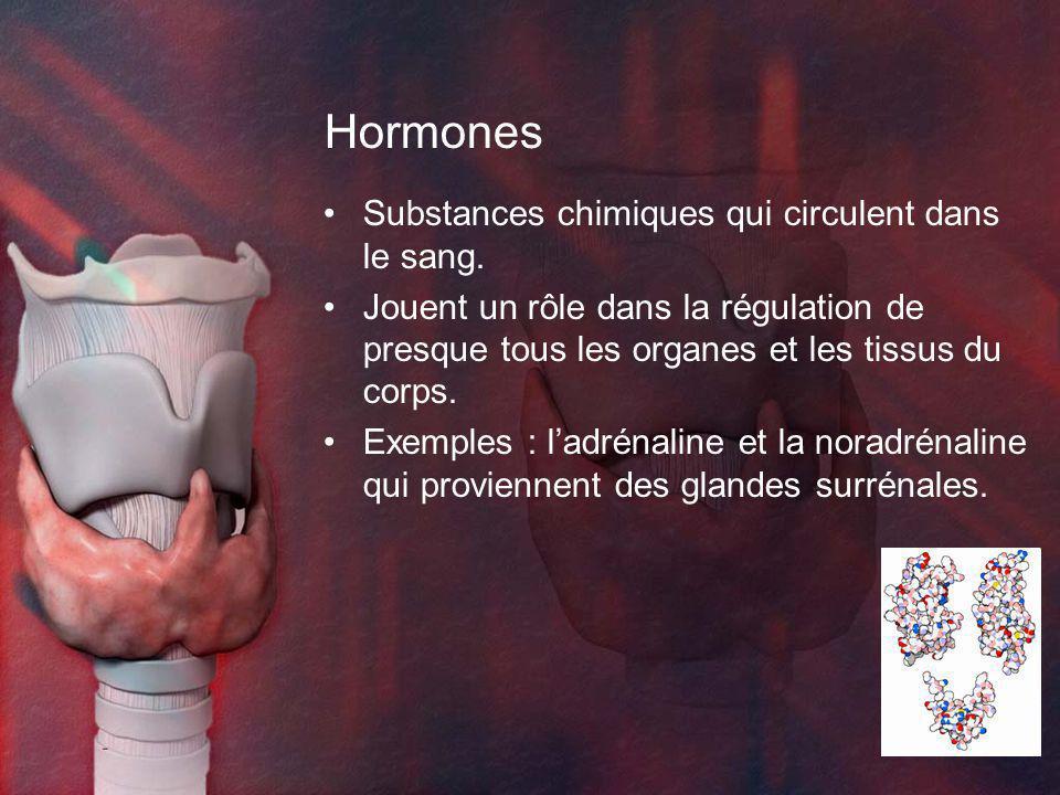 Hormones Substances chimiques qui circulent dans le sang. Jouent un rôle dans la régulation de presque tous les organes et les tissus du corps. Exempl