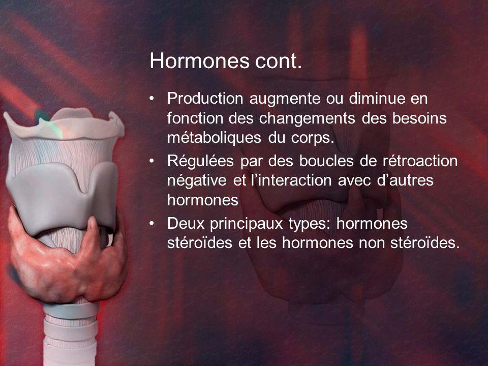 Hormones cont. Production augmente ou diminue en fonction des changements des besoins métaboliques du corps. Régulées par des boucles de rétroaction n