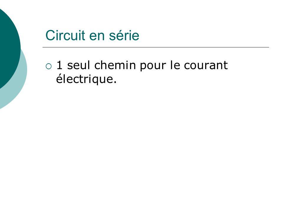 Circuit en série 1 seul chemin pour le courant électrique.