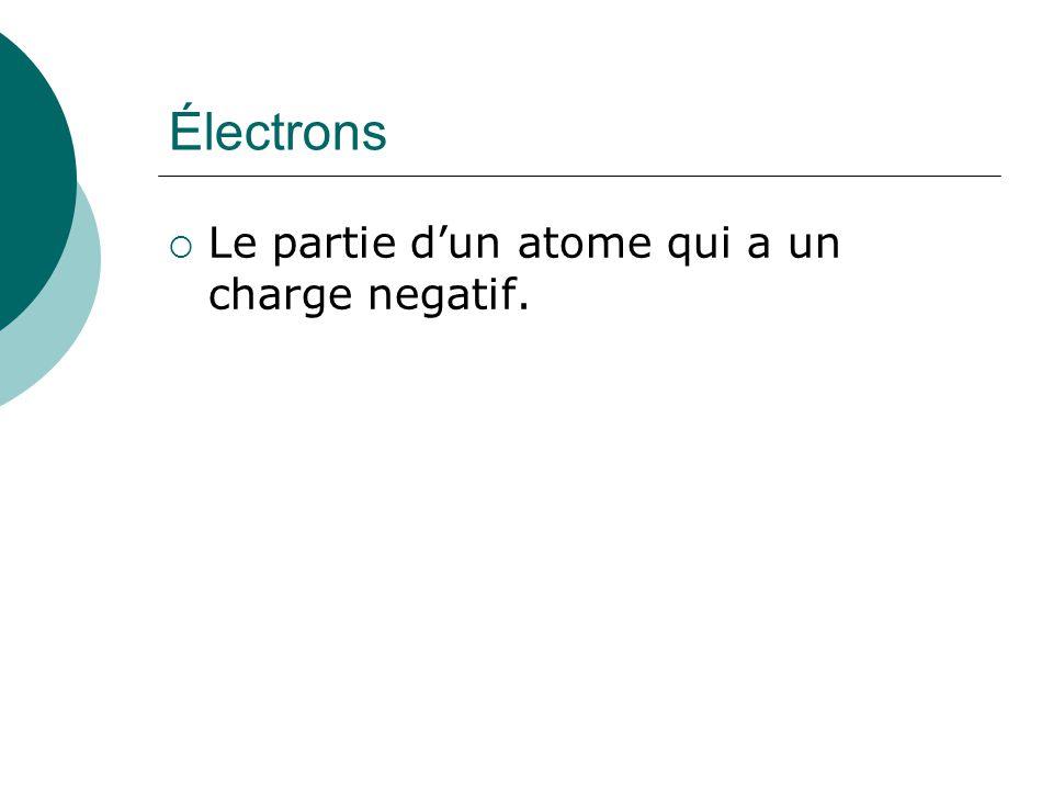 Électrons Le partie dun atome qui a un charge negatif.