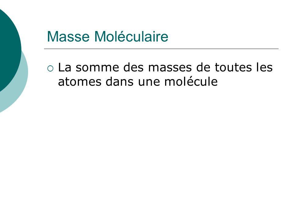 Masse Moléculaire La somme des masses de toutes les atomes dans une molécule