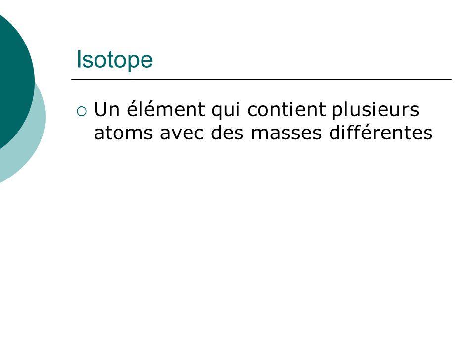 Isotope Un élément qui contient plusieurs atoms avec des masses différentes