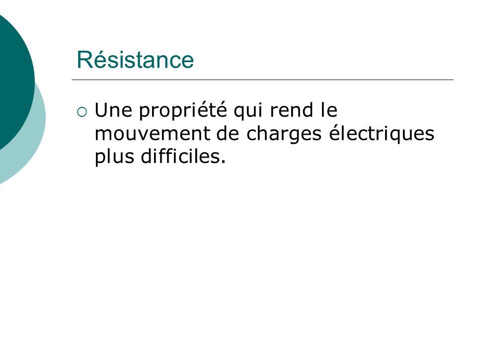 Résistance Une propriété qui rend le mouvement de charges électriques plus difficiles.