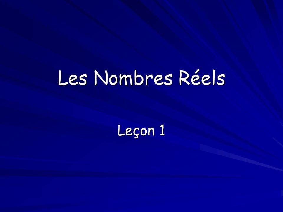 Les Nombres Réels Leçon 1