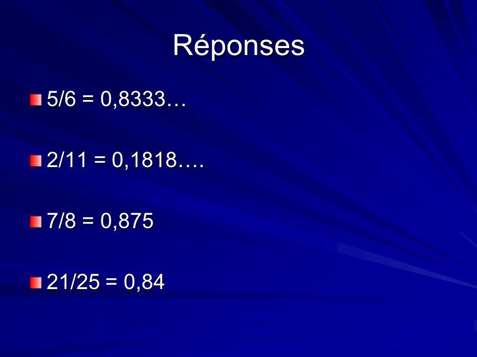 Réponses 5/6 = 0,8333… 2/11 = 0,1818…. 7/8 = 0,875 21/25 = 0,84