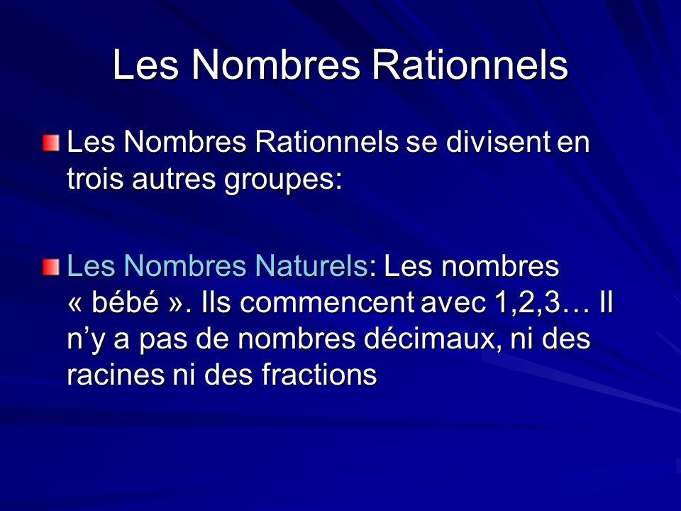 Les Nombres Rationnels Les Nombres Rationnels se divisent en trois autres groupes: Les Nombres Naturels: Les nombres « bébé ». Ils commencent avec 1,2