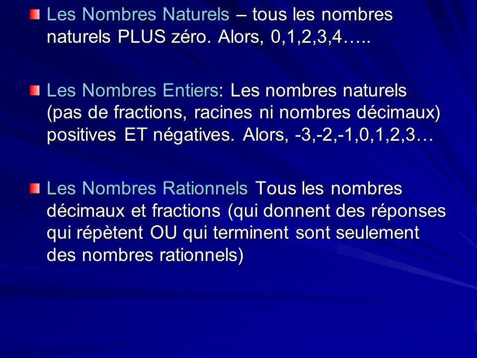 Les Nombres Naturels – tous les nombres naturels PLUS zéro. Alors, 0,1,2,3,4….. Les Nombres Entiers: Les nombres naturels (pas de fractions, racines n