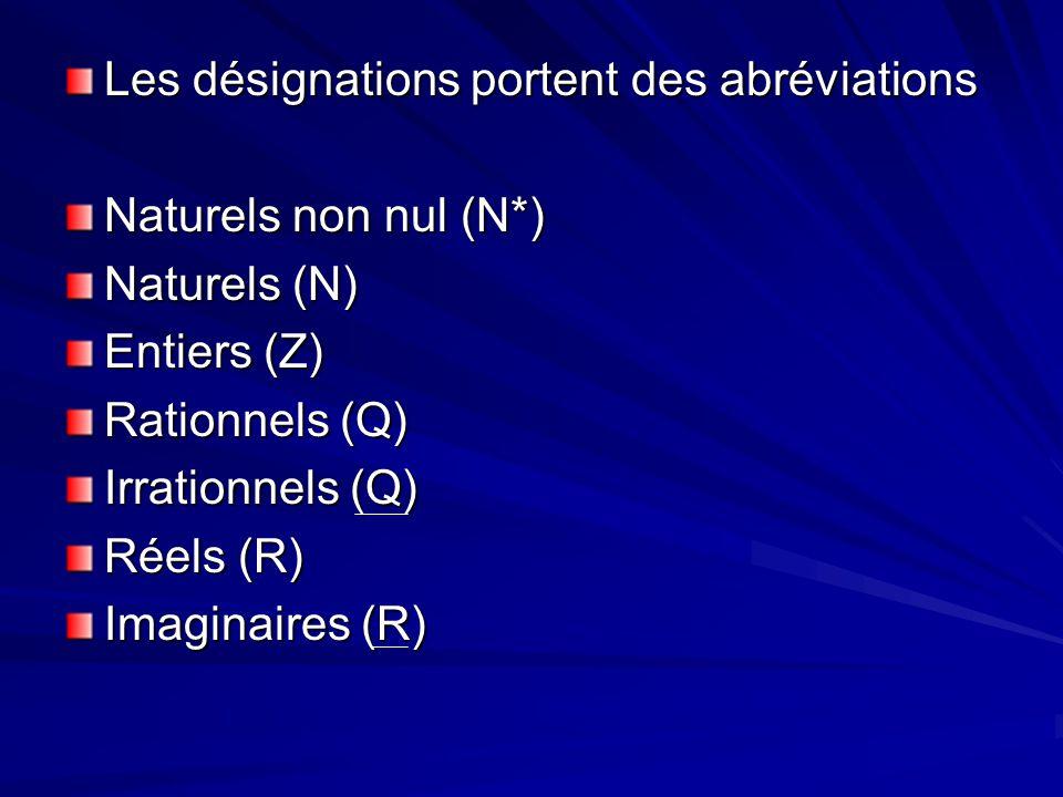 Les désignations portent des abréviations Naturels non nul (N*) Naturels (N) Entiers (Z) Rationnels (Q) Irrationnels (Q) Réels (R) Imaginaires (R)