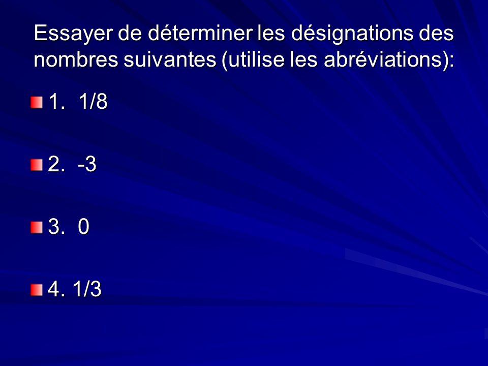 Essayer de déterminer les désignations des nombres suivantes (utilise les abréviations): 1. 1/8 2. -3 3. 0 4. 1/3