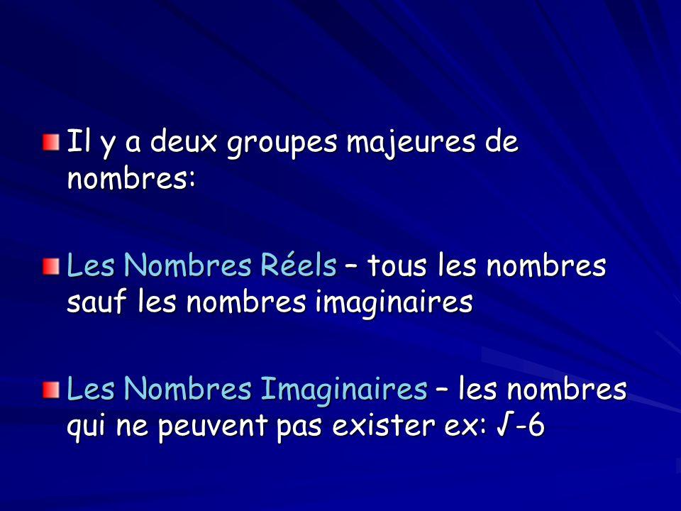 Il y a deux groupes majeures de nombres: Les Nombres Réels – tous les nombres sauf les nombres imaginaires Les Nombres Imaginaires – les nombres qui n