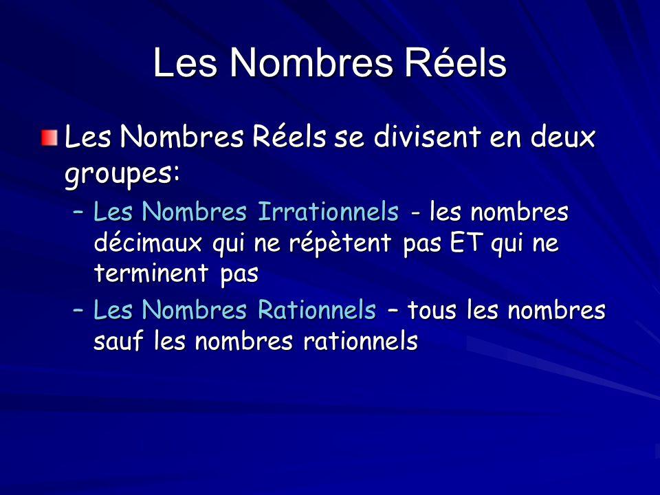 Les Nombres Réels Les Nombres Réels se divisent en deux groupes: –Les Nombres Irrationnels - les nombres décimaux qui ne répètent pas ET qui ne termin