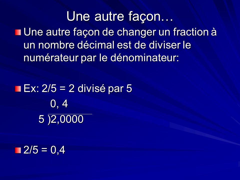 Une autre façon… Une autre façon de changer un fraction à un nombre décimal est de diviser le numérateur par le dénominateur: Ex: 2/5 = 2 divisé par 5
