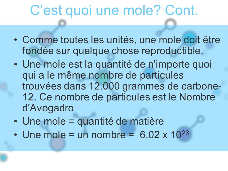 Cest quoi une mole? Cont. Comme toutes les unités, une mole doit être fondée sur quelque chose reproductible. Une mole est la quantité de n'importe qu