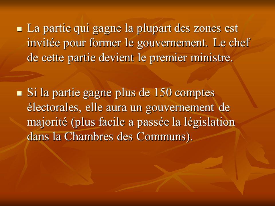 La partie qui gagne la plupart des zones est invitée pour former le gouvernement. Le chef de cette partie devient le premier ministre. La partie qui g
