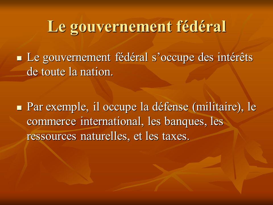 Le gouvernement fédéral Le gouvernement fédéral soccupe des intérêts de toute la nation. Le gouvernement fédéral soccupe des intérêts de toute la nati