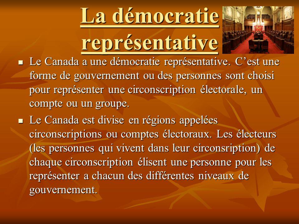 La démocratie représentative Le Canada a une démocratie représentative. Cest une forme de gouvernement ou des personnes sont choisi pour représenter u