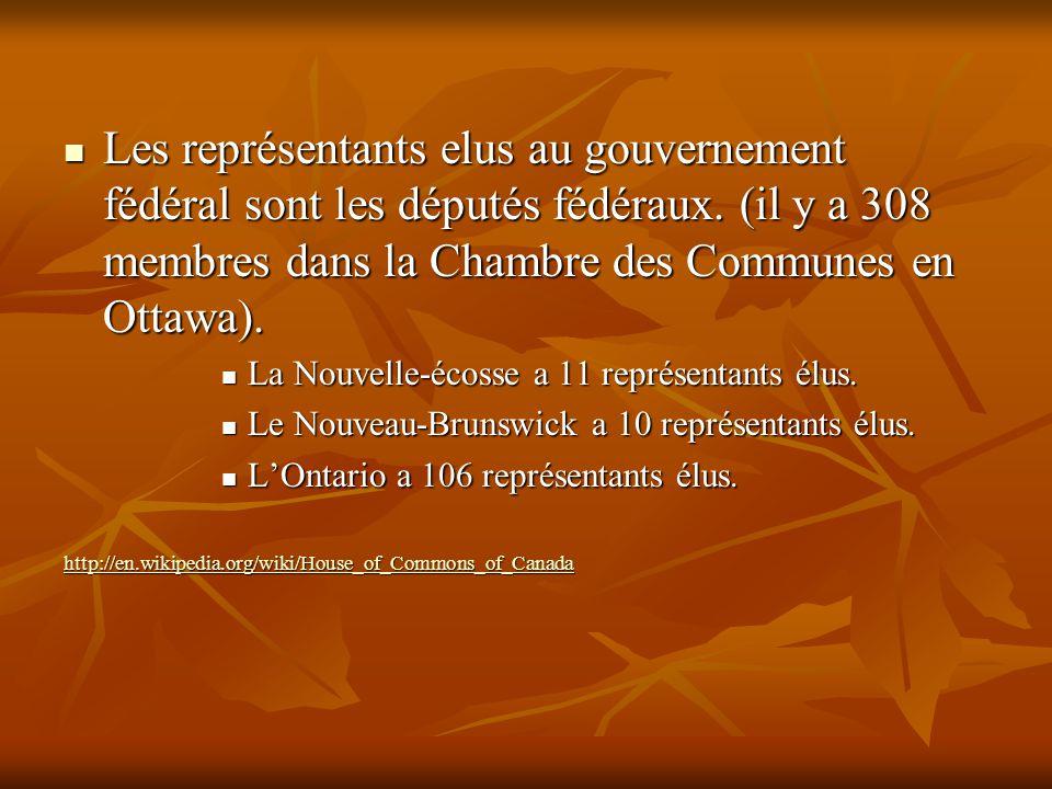 Les représentants elus au gouvernement fédéral sont les députés fédéraux. (il y a 308 membres dans la Chambre des Communes en Ottawa). Les représentan