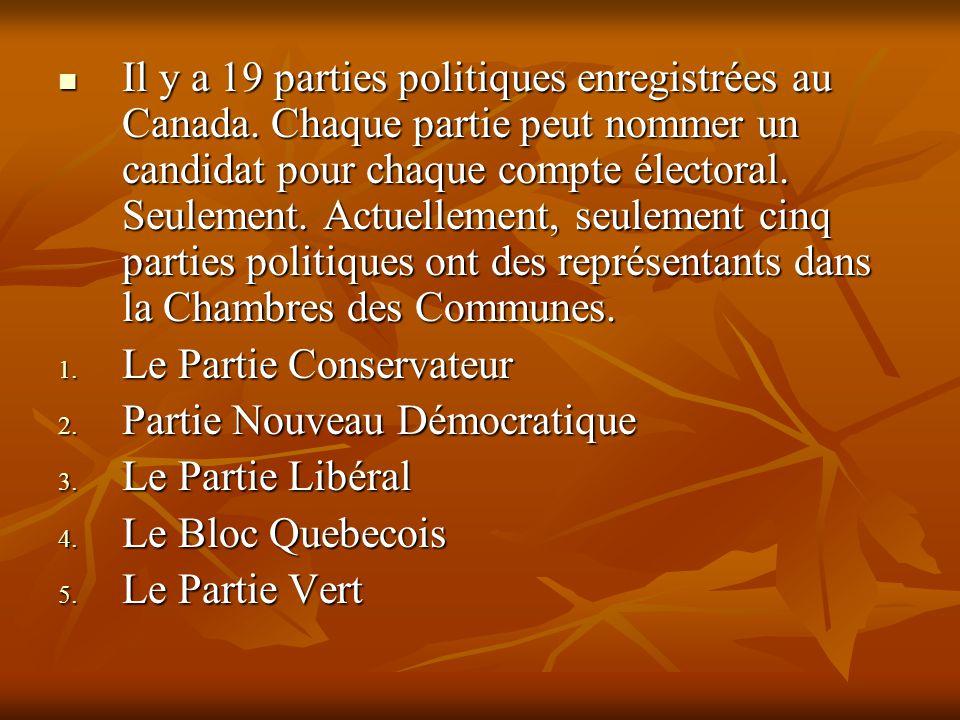 Il y a 19 parties politiques enregistrées au Canada. Chaque partie peut nommer un candidat pour chaque compte électoral. Seulement. Actuellement, seul