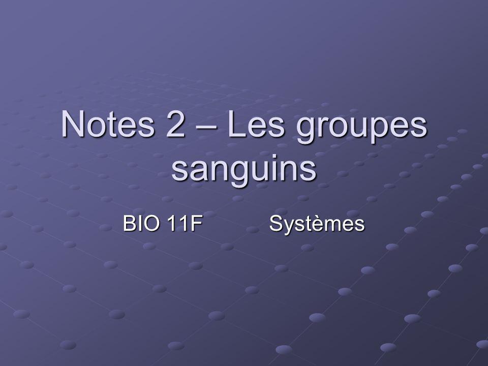Notes 2 – Les groupes sanguins BIO 11FSystèmes