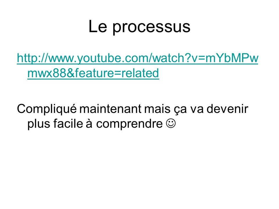 Le processus http://www.youtube.com/watch?v=mYbMPw mwx88&feature=related Compliqué maintenant mais ça va devenir plus facile à comprendre