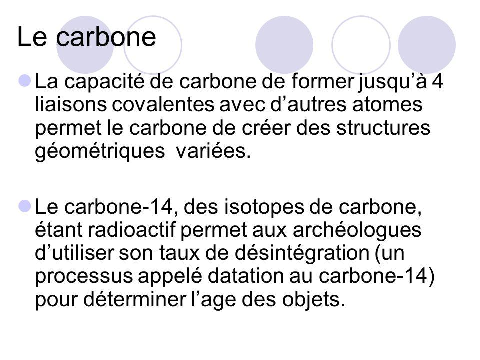 Le carbone La capacité de carbone de former jusquà 4 liaisons covalentes avec dautres atomes permet le carbone de créer des structures géométriques va