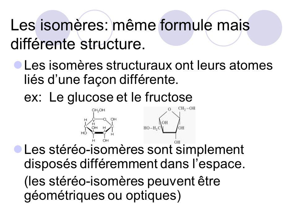 Les isomères: même formule mais différente structure. Les isomères structuraux ont leurs atomes liés dune façon différente. ex: Le glucose et le fruct