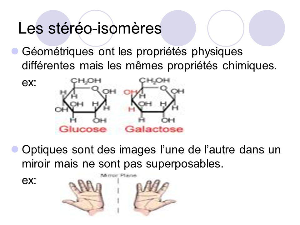 Les stéréo-isomères Géométriques ont les propriétés physiques différentes mais les mêmes propriétés chimiques. ex: Optiques sont des images lune de la