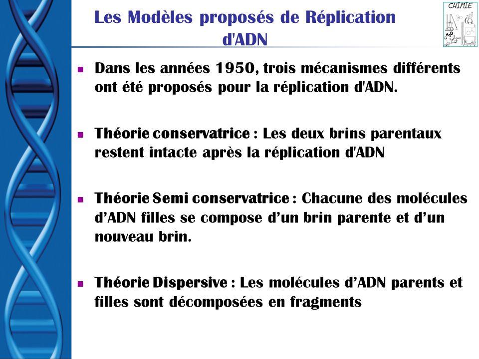 Les Modèles proposés de Réplication d'ADN Dans les années 1950, trois mécanismes différents ont été proposés pour la réplication d'ADN. Théorie conser