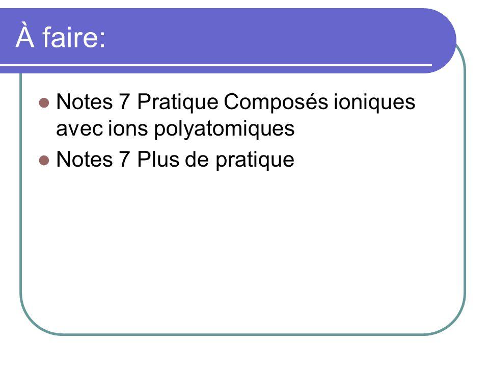 À faire: Notes 7 Pratique Composés ioniques avec ions polyatomiques Notes 7 Plus de pratique