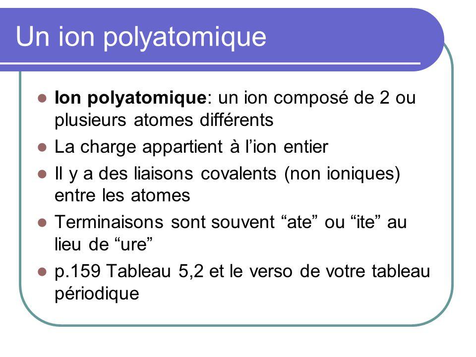 Un ion polyatomique Ion polyatomique: un ion composé de 2 ou plusieurs atomes différents La charge appartient à lion entier Il y a des liaisons covalents (non ioniques) entre les atomes Terminaisons sont souvent ate ou ite au lieu de ure p.159 Tableau 5,2 et le verso de votre tableau périodique
