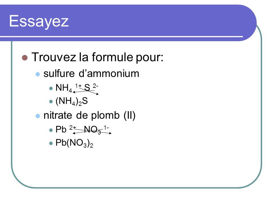 Essayez Trouvez la formule pour: sulfure dammonium NH 4 1+ S 2- (NH 4 ) 2 S nitrate de plomb (II) Pb 2+ NO 3 1- Pb(NO 3 ) 2