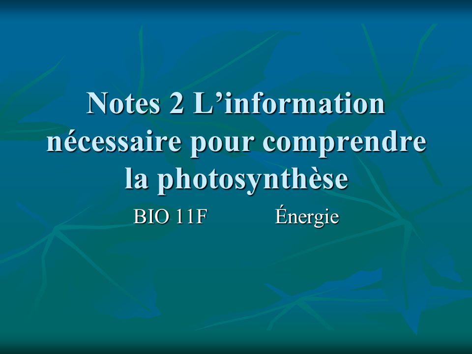 Notes 2 Linformation nécessaire pour comprendre la photosynthèse BIO 11FÉnergie